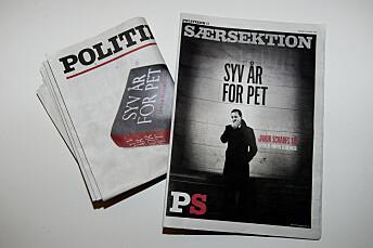 Den forbudte boka «Syv år for PET» ble offentliggjort som et eget bilag til avisa Politiken i 2016. Foto: Liselotte Sabroe / Ritzau Scanpix / NTB scanpix