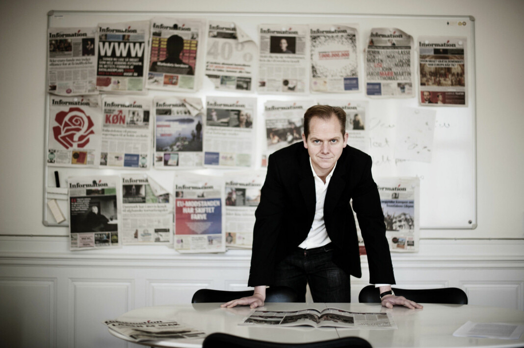 Sjefredaktør Christian Jensen i den danske avisa Politiken er idømt en bot på 50.000 kroner for å ha offentliggjort en bok om sikkerhetstjenesten PET. Bildet av Jensen er fra 2011. Foto: Jakob Dall / Ritzau Scanpix / NTB scanpix