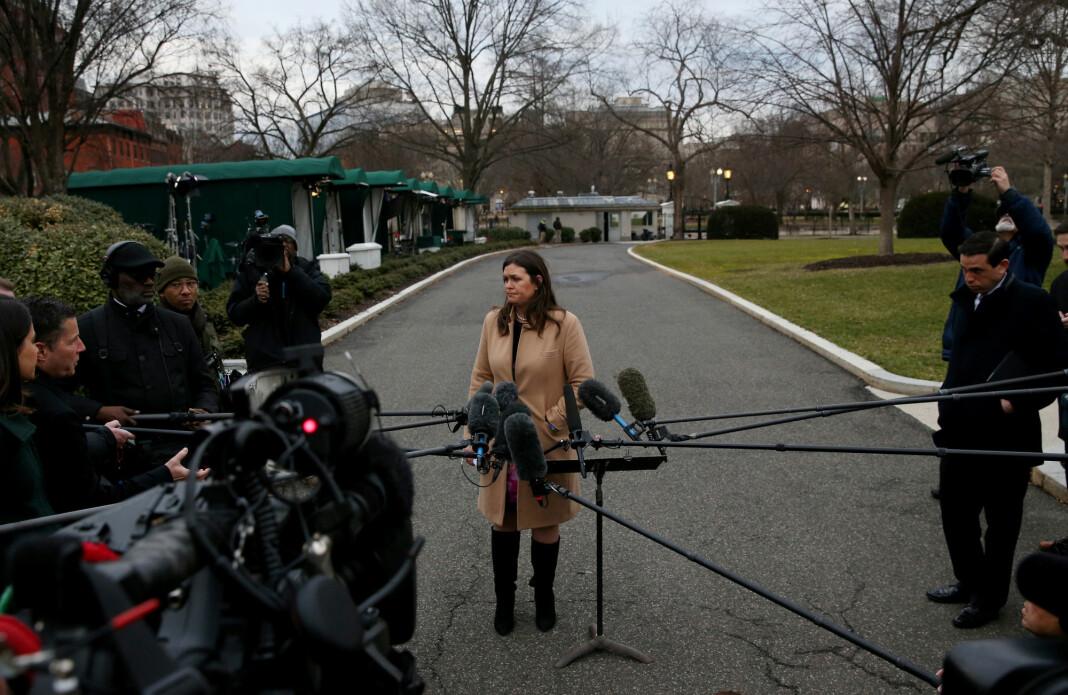 President Donald Trump har gitt sin talskvinne Sarah Sanders beskjed dom å avvikle pressekonferansene i Det hvite hus. Foto: Leah Millis / Reuters / NTB scanpix