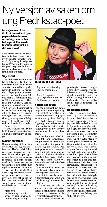 Slik så den andre utgaven av intervjuet ut. Skjermdump / Fredriksstad Blad