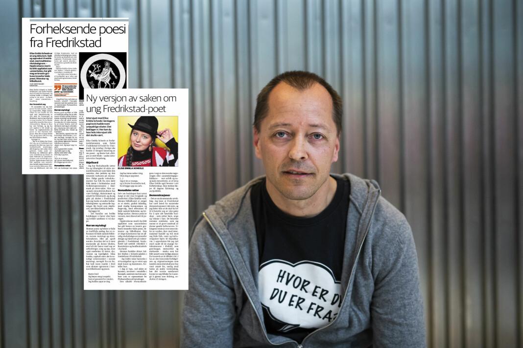 Ansvarlig redaktør René Svendsen og Fredrikstad Blad får kritikk fra PFU. Foto: Kristine Lindebø, Skjermdump / Fredriksstad Blad.