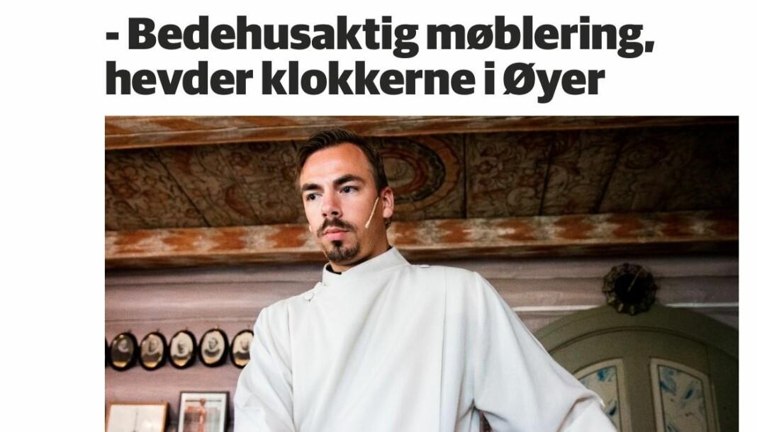 Tidligere sogneprest i Øyer kirke Geir Wiknes vant fram med klagen sin i PFU. Her er han avbildet i den aktuelle saken. Foto: skjermdump GD.