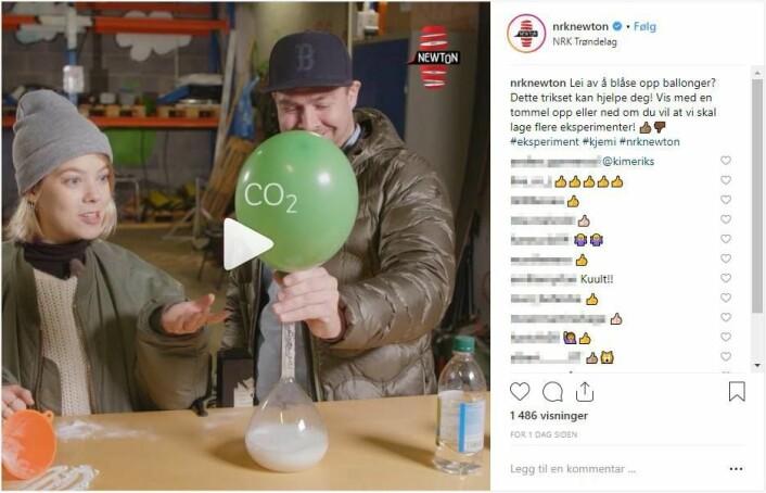 NRKs Newton er populære i sosiale medier. Skjermdump NRK