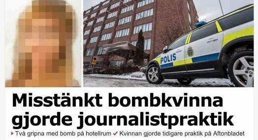 Bombemistenkt kvinne har tidligere jobbet i Aftonbladets redaksjon