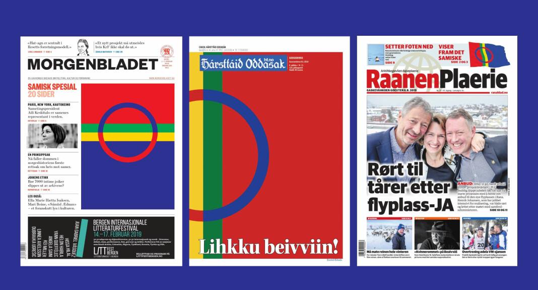 Morgenbladet, Harstad Tidende og Rana Blad har alle samiske flagg på sine forsider, de to sistnevnte har også samiske navn for anledninga.