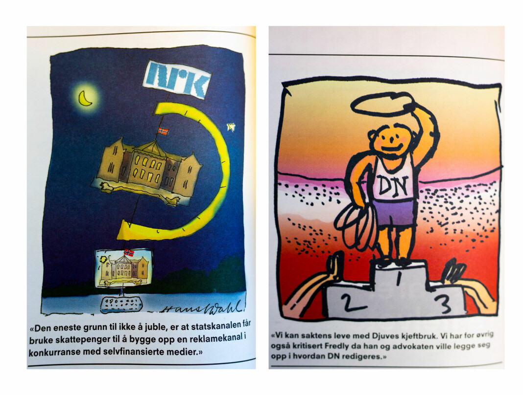 Hans Normann Dahl tegnet til Journalistens leder-artikler. Her to tegninger fra 2008, som var det siste året han tegnet i fagbladet.