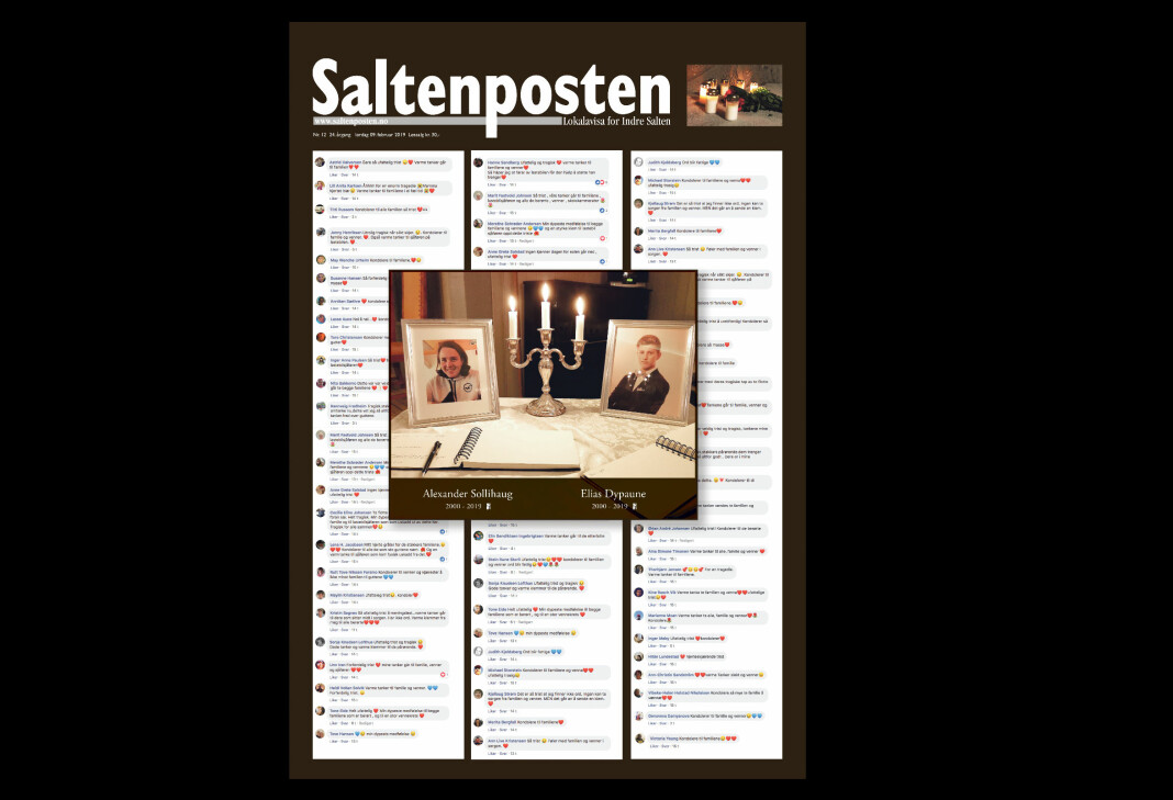 Saltenpostens forside lørdag 9. februar. Foto: Faksimile