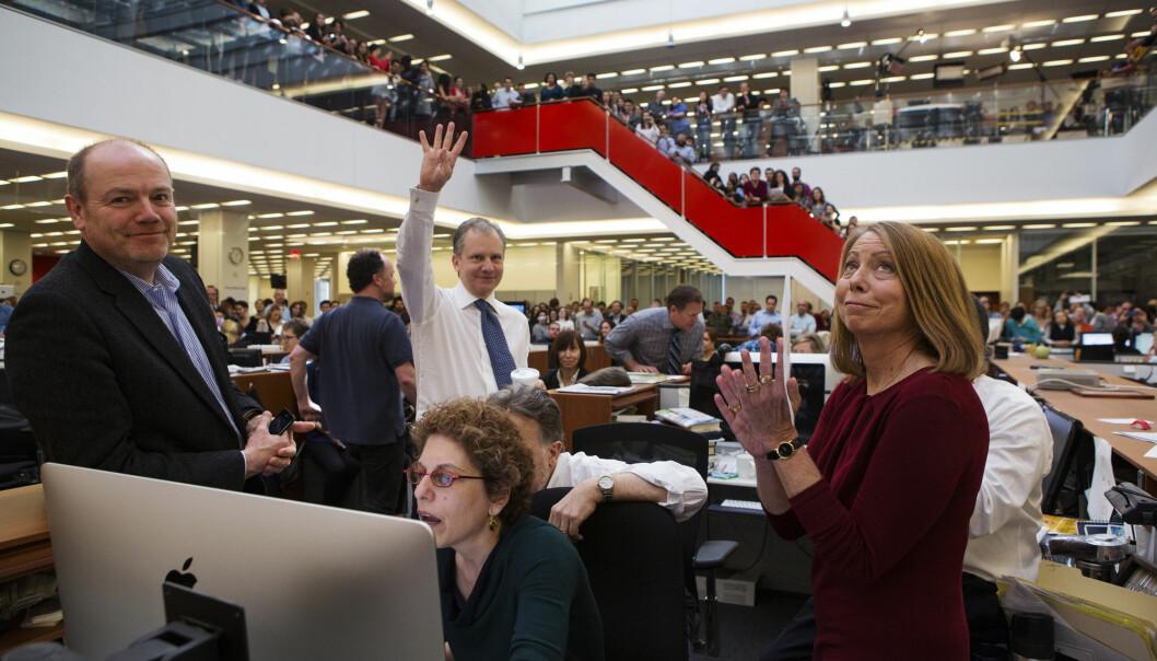 Jill Abramson (til høyre) fra tiden som sjefredaktør i New York Times. Fra venstre administrerende direktør Mark Thompson, assisterende nyhetsredaktør Susan Chira og publisher Arthur Sulzberger jr. Foto: Ruth Fremson / Reuters / NTB scanpix