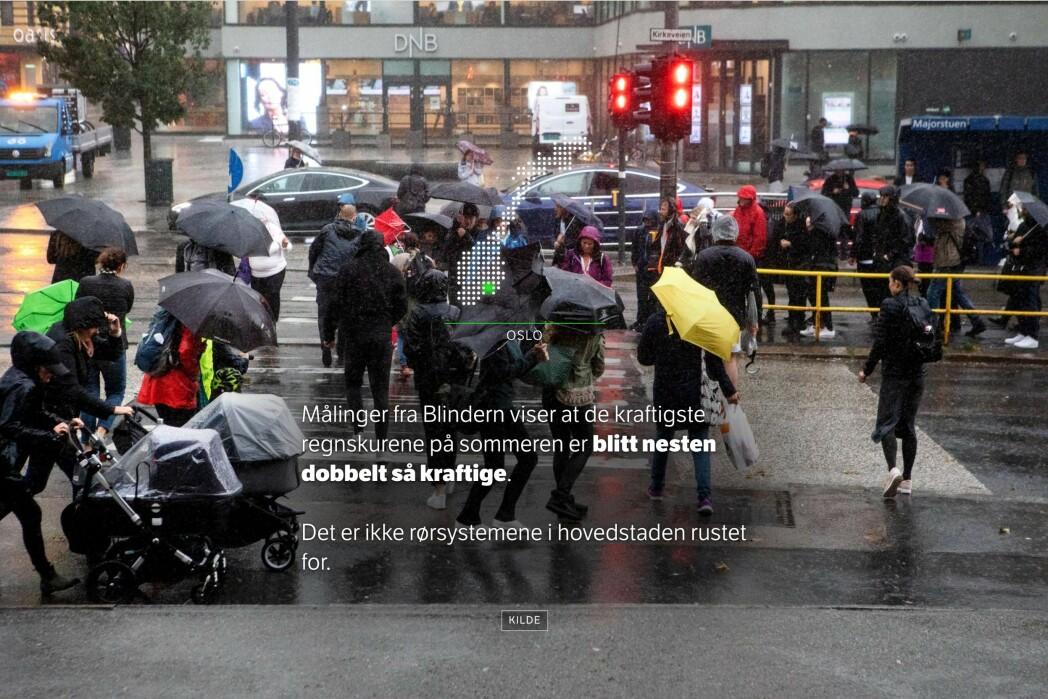 Enkel grafikk viser hvor i landet vi er, ellers er det så lite «stæsj» som mulig i saken. Foto: Patrick Da Silva Sæther / Skjermdump, NRK.no