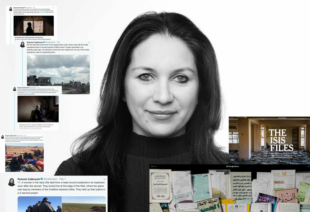 New York Times-korrespondent Rukmini Callimachi chatter blant annet med IS i jobben. Foto: New York Times / Skjermdump Twitter og New York Times