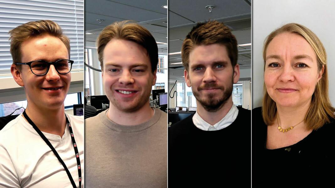 Nye fjes i E24. Fra venstre: Fredrik Kampevoll, Anders Nybakken Kvale, David Bach og Camilla Knudsen. Foto: E24