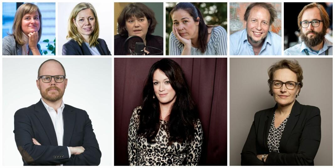 De nominere er bak fra venstre: Mari Skurdal, Trine Eilertsen, Berit Aalborg, Mina Hadjian, Vegard Velle og Harald Klungtveit. Foran fra venstre: Gard Steiro, Ingeborg Heldal og Gry Egenes.