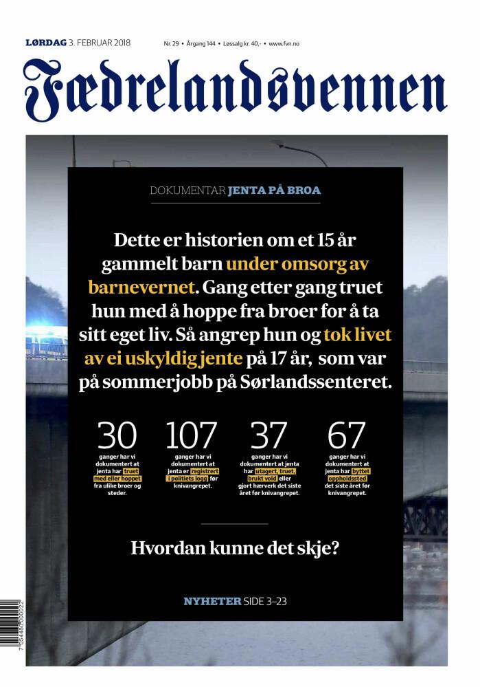 Slik så forsida av Fædralandsvennen ut da de publiserte «Jenta på broa» lørdag 3. februar 2018. Faksimile