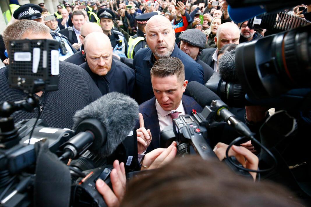 Tommy Robinson var tidligere leder for antimuslimske English Defence League (EDL). I fjor ble han ansatt som rådgiver for UKIPs partileder Gerard Batten. Foto: Reuters / NTB scanpix