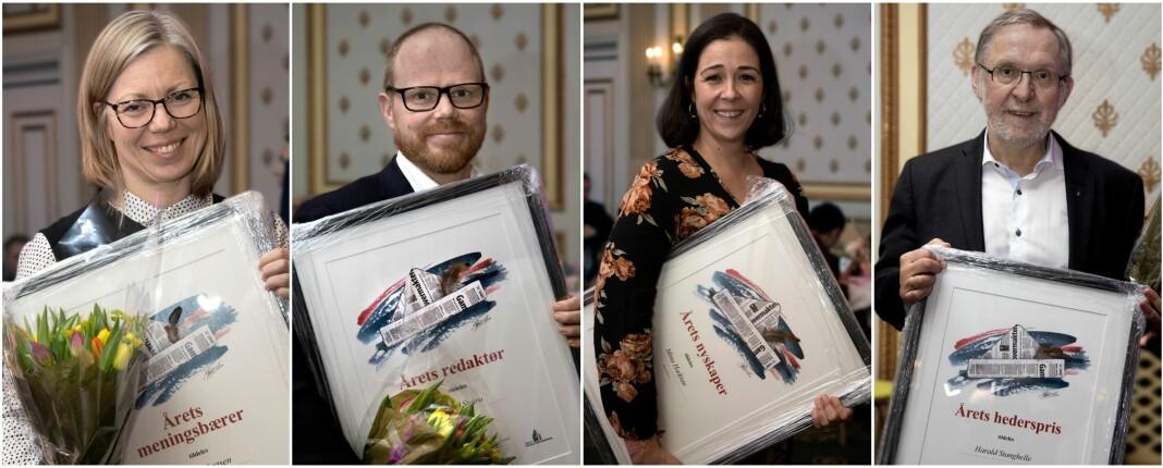 Årets redaktører i Oslo og Akershus - fra venstre Trine Eilertsen, Gard Steiro, Mina Hadjian og Harald Stanghelle. Foto: Trygve Indrelid / NTB scanpix