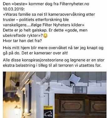 Skjermdump fra Laila Anita Bertheussens Facebook-post.