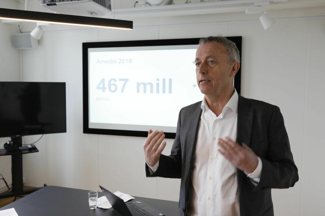 Konsernsjef Are Stokstad i Amedia la fram tall for fjoråret i Oslo tirsdag. Foto: Gorm Kallestad / NTB scanpix
