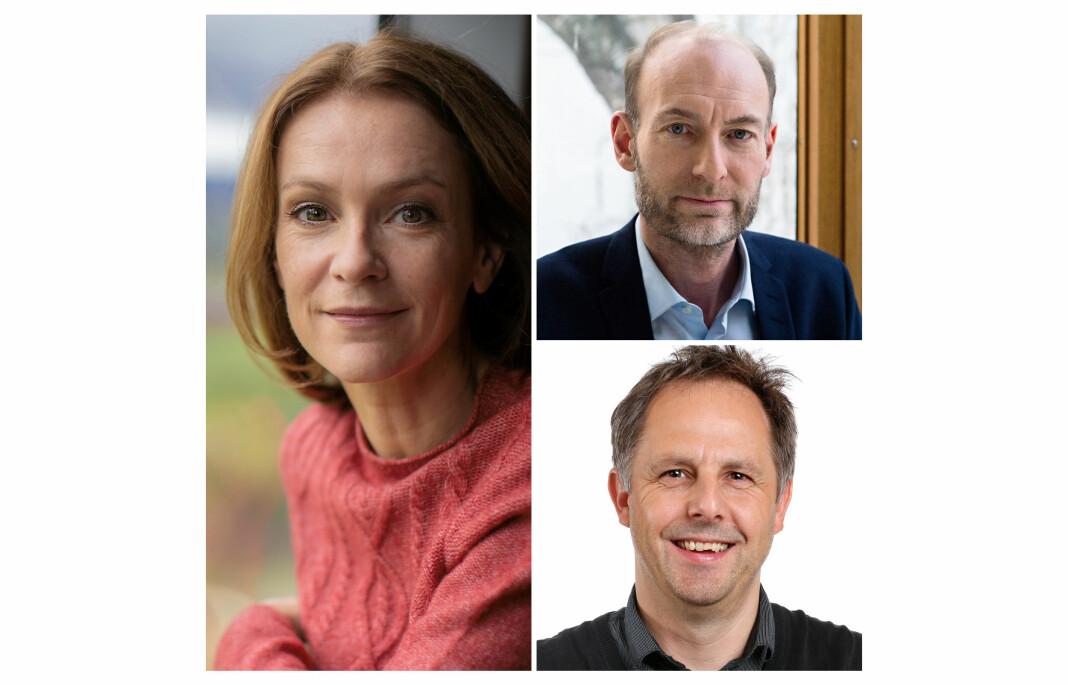 Vinnere av Riksmålsforbundets mediepriser: Tonje Steinsland, Knut Olav Åmås (øverst) og Anders Borgen Werring. (Foto: TV 2, Fritt Ord og NRK)