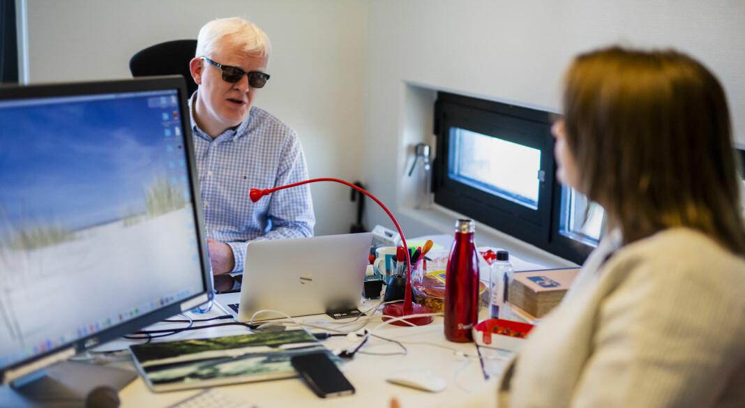 Nestleder Dag Idag Tryggestad og leder Hege Iren Frantzen i Norsk Journalistlag. Foto: Kristine Lindebø