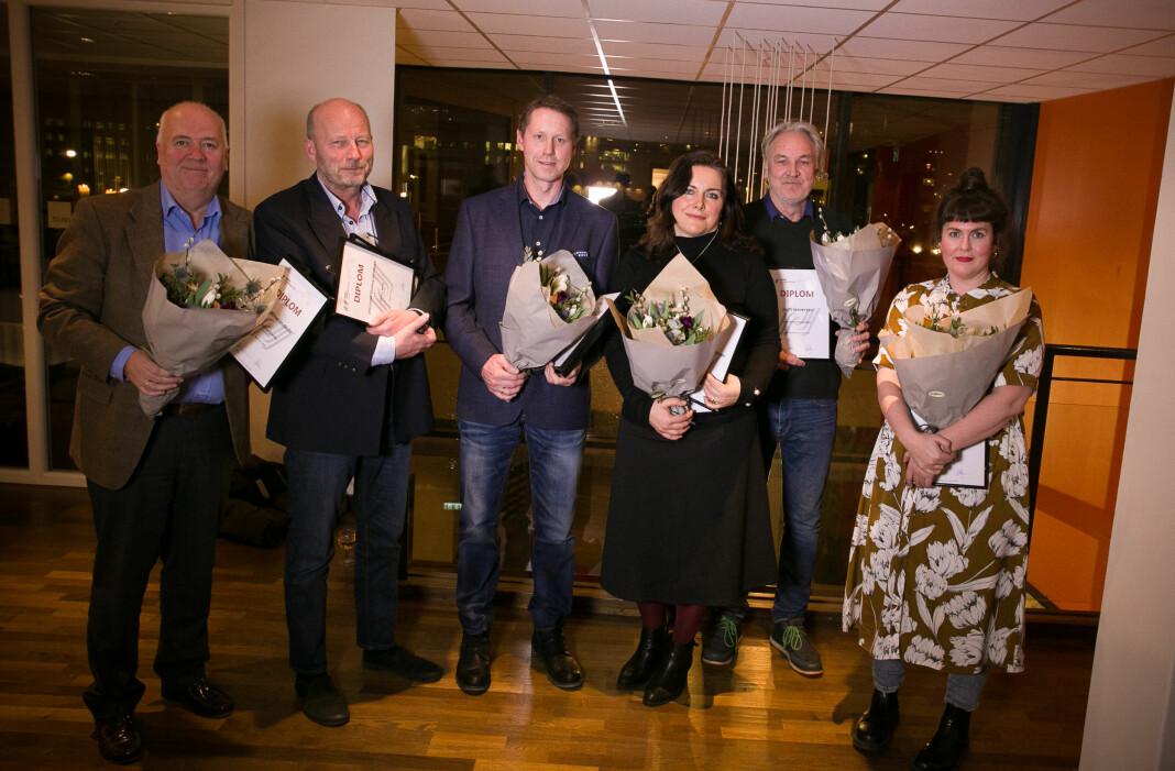 Prisvinnere i Vestfold: Fra venstre Sigmund Kydland (på vegne av Kirvil Håberg), Morten Wang, Henrik Ulrichsen, Emira Holmøy, Jan Henrik Aubert (på vegne av John-André Samuelsen) og Siw Nakken.