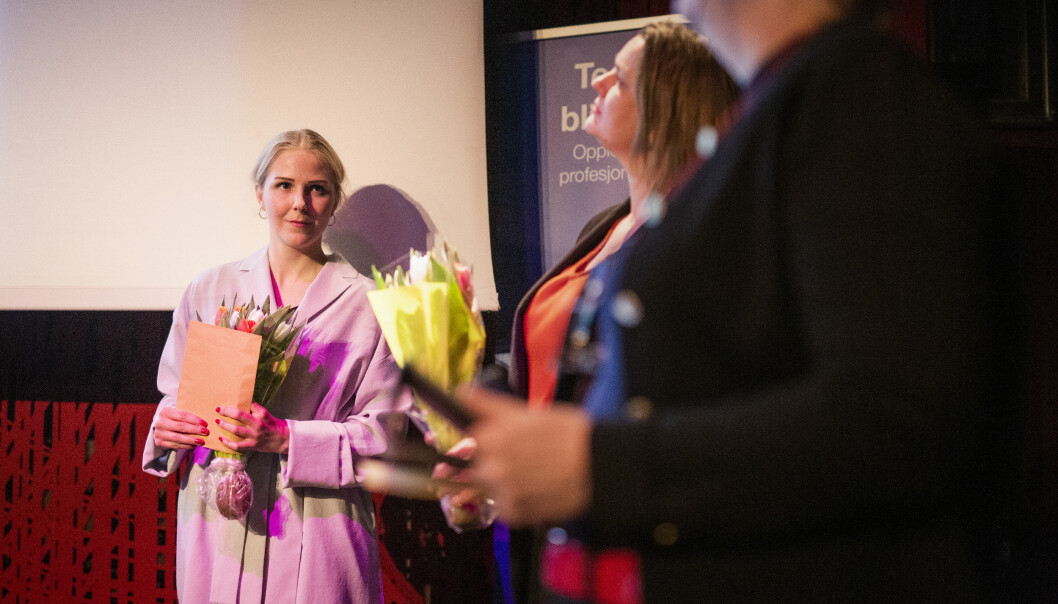 Therese Alice Sanne er én av de to siste stipendmottakerne Karina Jensens minnefond. Den andre, Monica Strømdahl, var ikke til stede under utdelinga. Foto: Kristine Lindebø