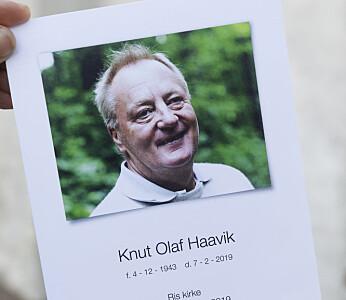 Tidligere Se og Hør-sjef Knut Haavik ble torsdag bisatt fra Ris kirke i Oslo. Foto: Tom Hansen / NTB scanpix
