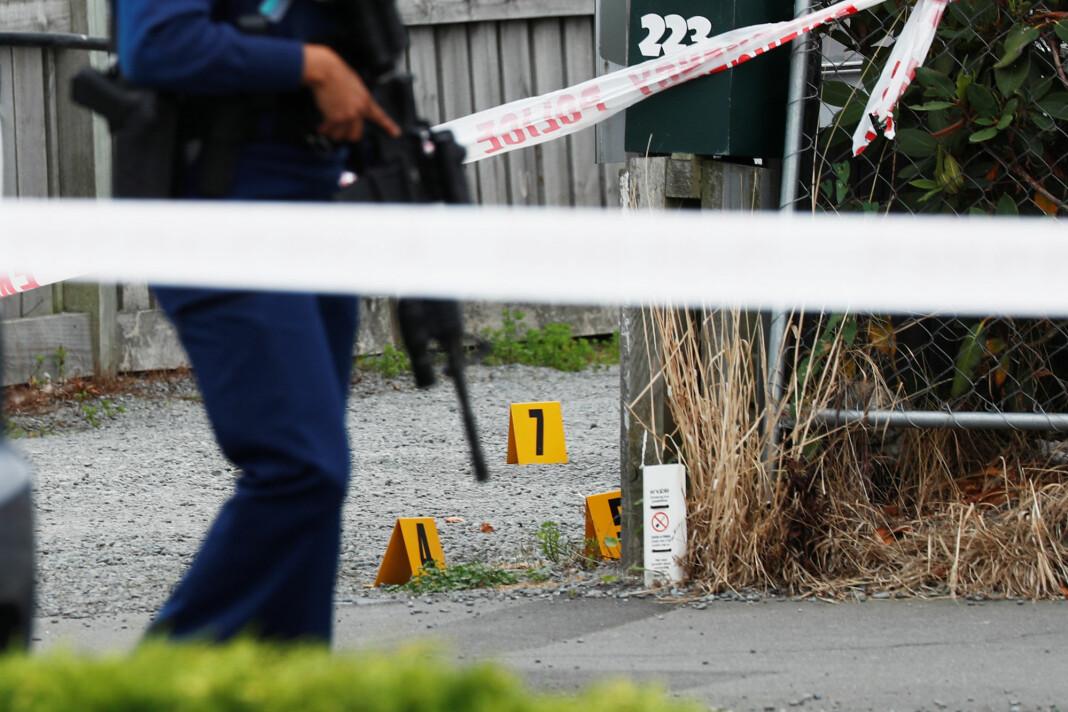 Politi i Christchurch på New Zealand etter terroraksjonen 15. mars i år. Foto: Reuters / NTB scanpix