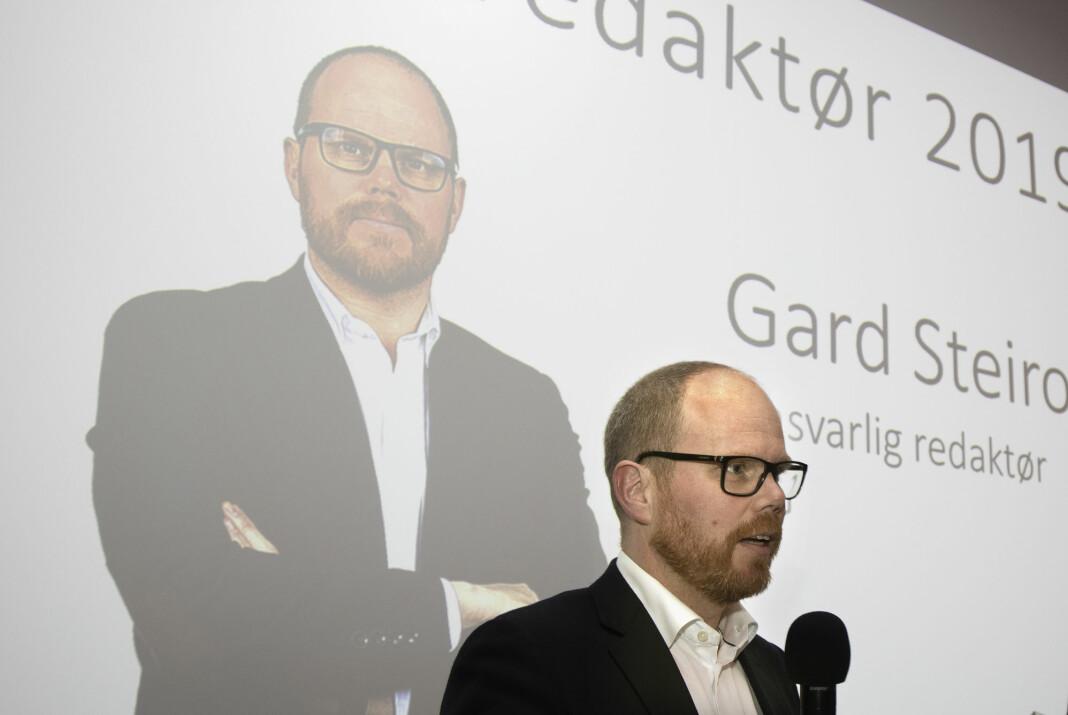 Ansvarlig redaktør i VG, Gard Steiro. Bildet er tatt da Steiro i begynnelsen av mars ble kåret til årets redaktør av Oslo Redaktørforening. Foto: Trygve Indrelid / NTB scanpix