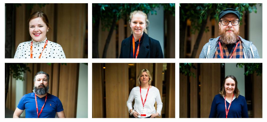 Silje Josten Lien, Margrethe Håland Solheim, Odd Skjerdal, Morten Hansen, Hilde Ranheim og Silje Løvstad Thjømøe er tillitsvalgte tilstede på NJs landsmøte 2019. Foto: Kristine Lindebø