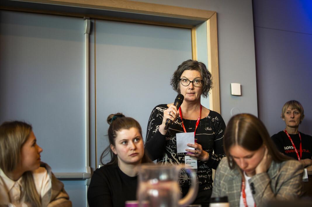 Journalist Cathrine Møystad i Østlendingen delte en personlig historie i debatten på NJs landsmøte om de lokale lønnsoppgjørene skal avspeile verdiskapninga i den enkelte bedrift. Foto: Kristine Lindebø