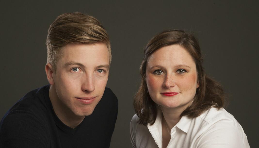 VG-journalistene Lars Joakim Skarvøy og Marie Melgård har skrevet boka «Alle skal ned». Foto: Kagge Forlag