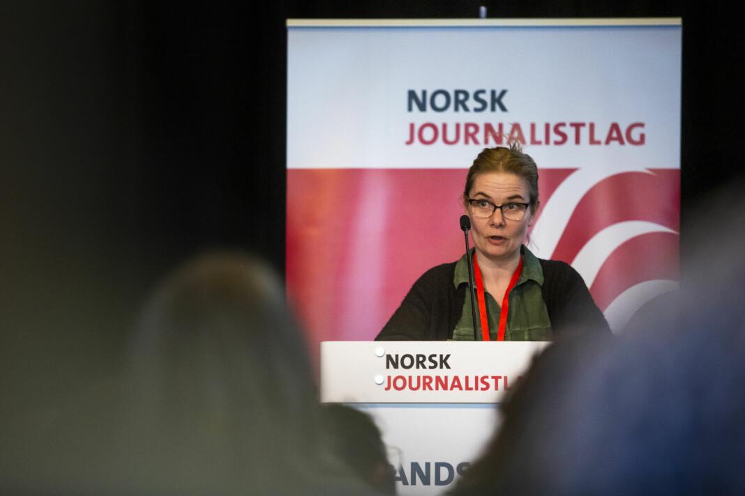 Grethe Brandsø går av som klubbleder i NTB for å bli administrativ redaktør. Bildet er fra fjorårets landsmøtet i Norsk Journalistlag