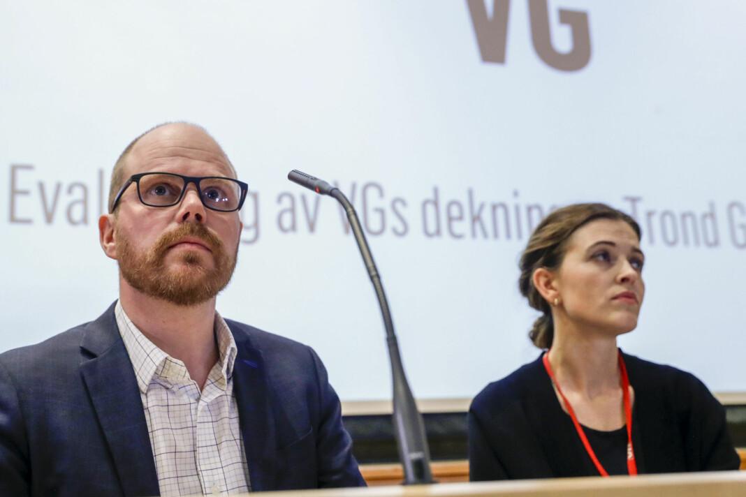 Ansvarlig redaktør Gard Steiro og nyhetsredaktør Tora Bakke Håndlykken fra fremleggingen av VGs granskningsrapport. Foto: Berit Roald / NTB scanpix