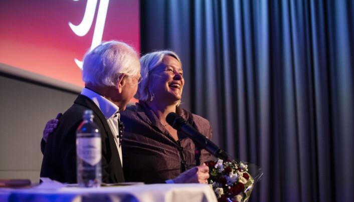 Berit Rekaa ble rørt da hun mottok Trym-prisen. Foto: Kristine Lindebø