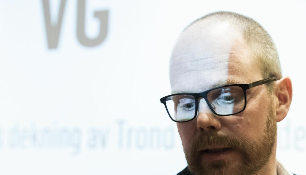 Sjefredaktør Gard Steiro under presentasjon av VGs egen evaluering av avisas dekning av den dansevideosaken. Foto: Berit Roald / NTB scanpix