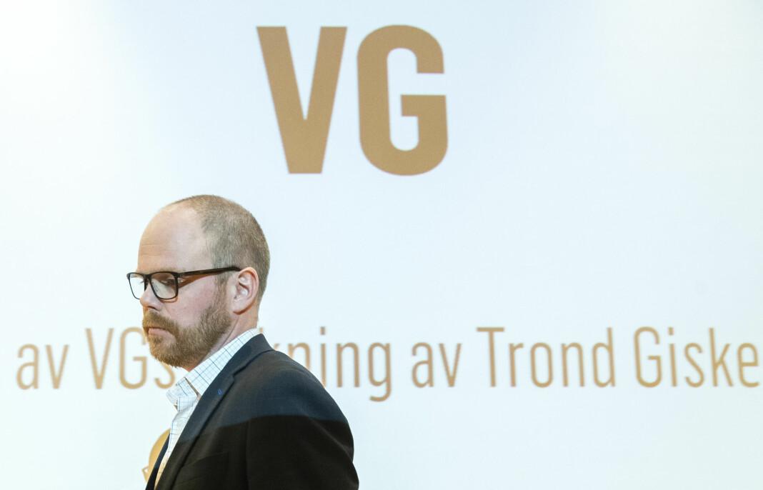 Sjefredaktør Gard Steiro under presentasjon av VGs egen evaluering av avisas dekning av den såkalte Giske-videosaken. Foto: Berit Roald / NTB scanpix