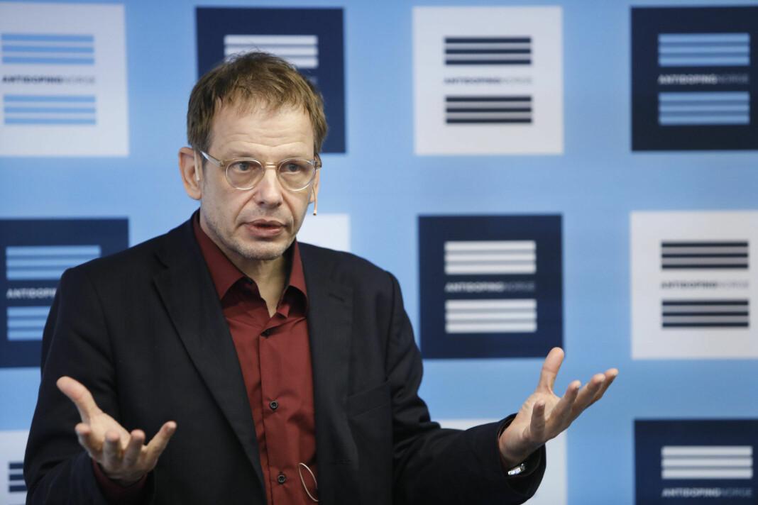 Den tyske dopingjournalisten Hajo Seppelt under et seminar i Oslo torsdag. Foto: Ole Berg-Rusten / NTB scanpix