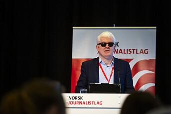 NJs nestleder Dag Idar Tryggestad, her på talerstolen på Norsk Journalistlags landsmøte 2019.