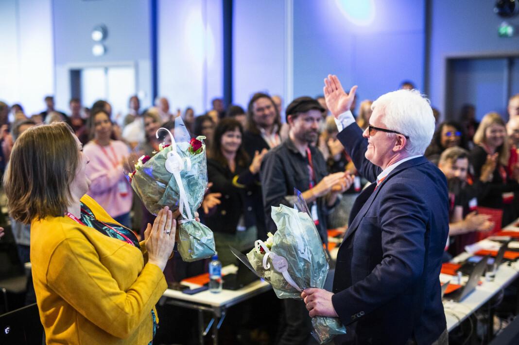 Hege Iren Frantzen og Dag Idar Tryggestad fortsetter som Norsk Journalistlags lederduo den kommende perioden. Foto: Kristine Lindebø