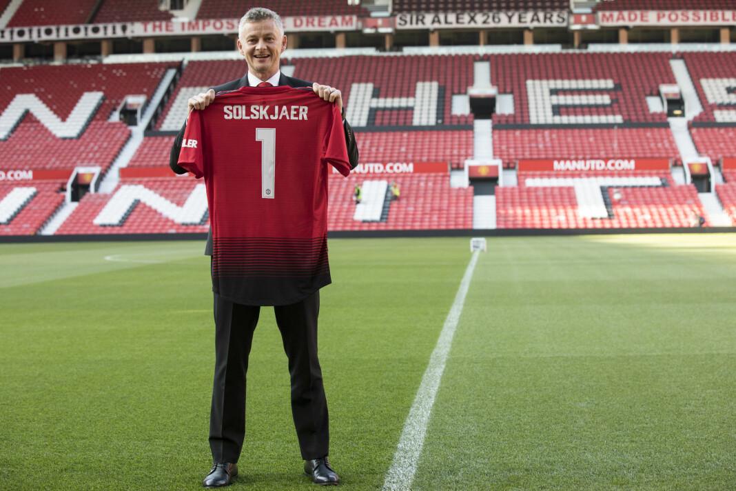 Torsdag ble det klart at Ole Gunnar Solskjær har blitt Manchester United-manager permanent. 46-åringen har signert en treårskontrakt med rødtrøyene. Foto: Nina E. Rangøy / NTB scanpix