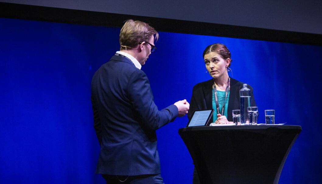 Tora Bakke Håndlykken og Espen Aas, debatt om dansevideoen med Trond Giske, VG-saken. Skup 2019. Foto: Kristine Lindebø