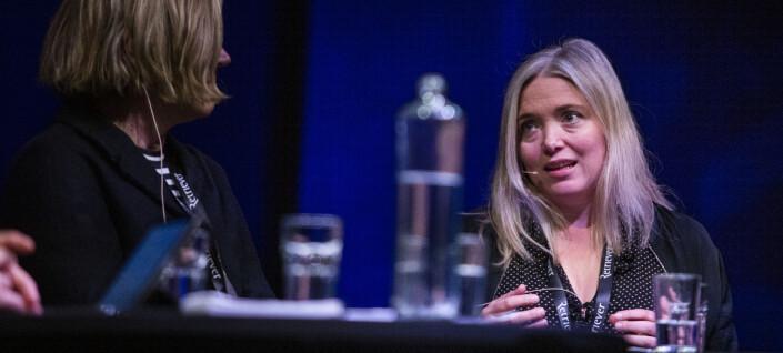 Tone Sofie Aglen, politisk redaktør i Adresseavisen (snart kommentator i VG), under debatt om dansevideoen med Giske og VGs dekning av den, under Skup 2019. Foto: Kristine Lindebø