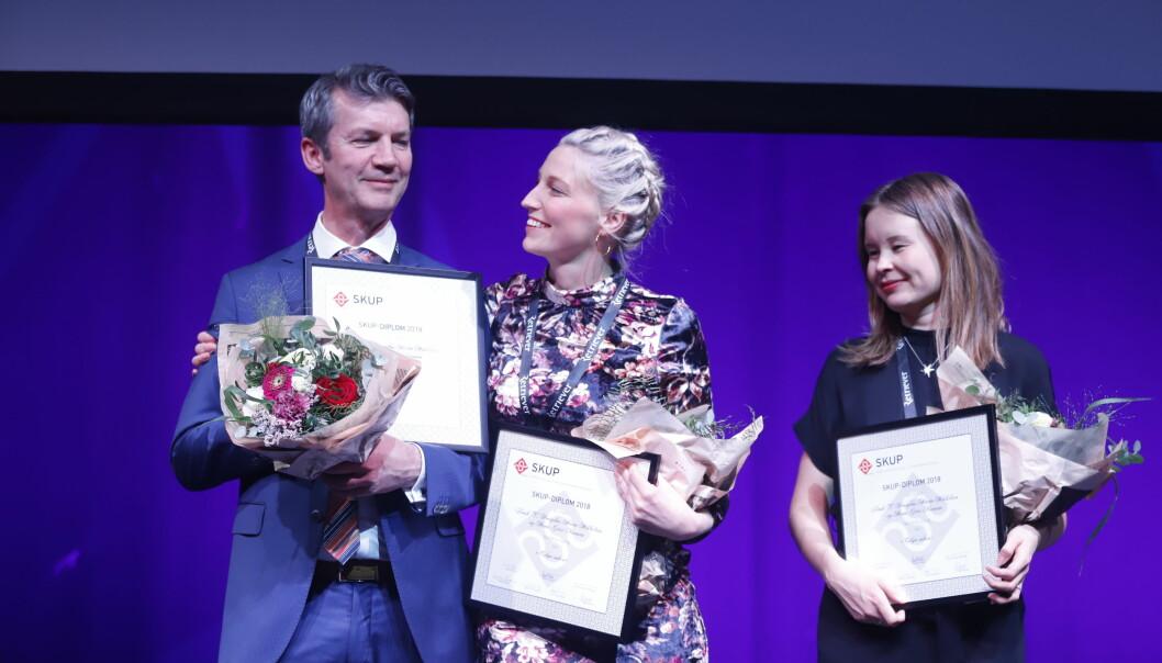 Frank Haugsbø, Mona Grivi Norman og Maria Mikkelsen vant Skup-diplom for Tolga-saken. Foto: Eskil Wie Furunes