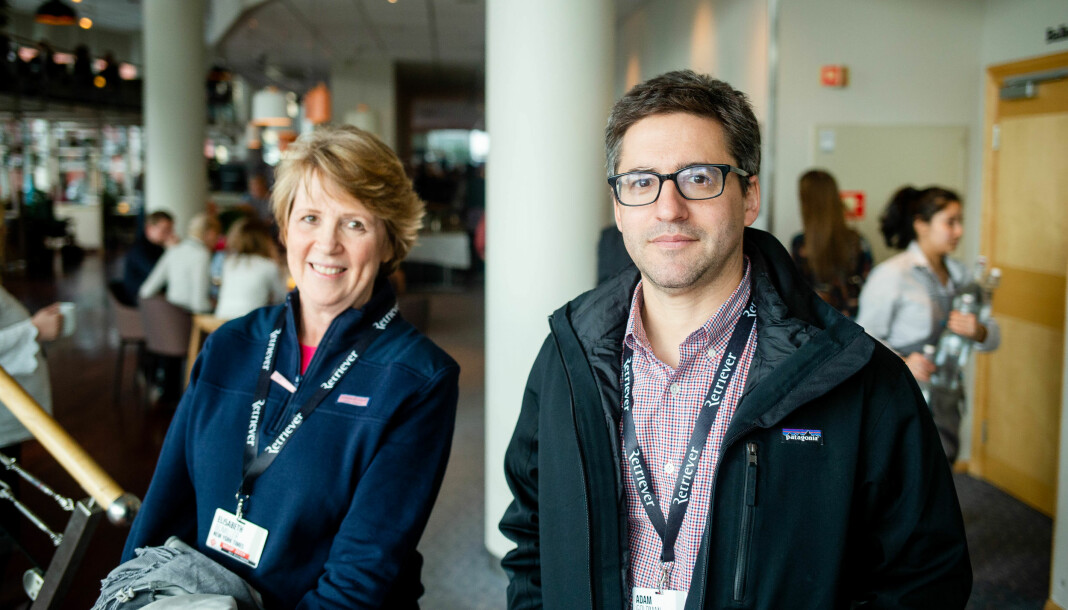 Elisabeth Bullimer og Adam Goldman på Skup-konferansen i Tønsberg i vår. Foto: Eskil Wie Furunes