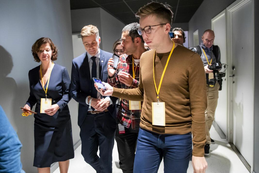 Journalist Lars Joakim Skarvøy på jobb for sin tidligere arbeidsgiver VG.
