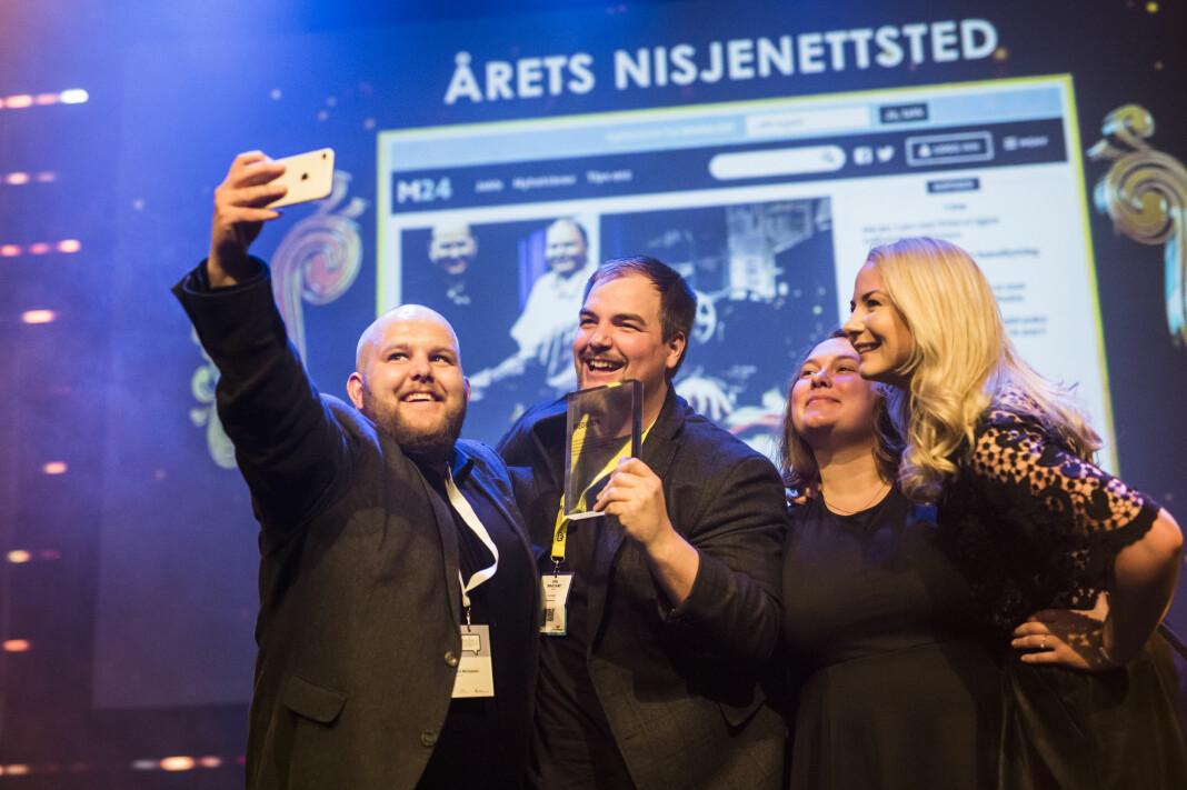 Medier24 på scenen i 2018: Fra venstre Gard L. Michalsen, Erik Waatland, Eira Lie Jor og Julie Hansson Tangen. Arkivfoto: Kristine Lindebø