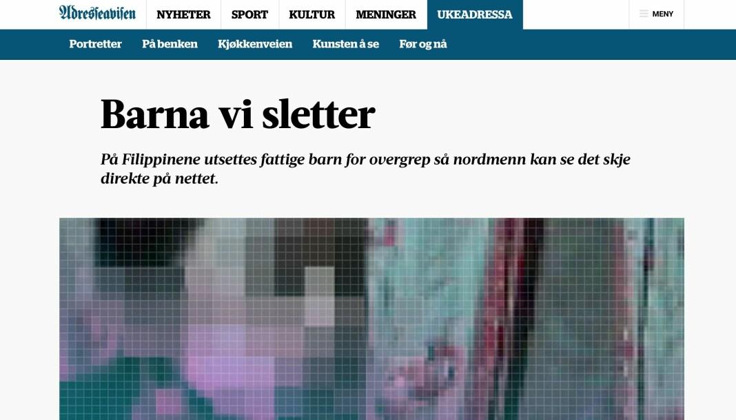 Bak reportasjen «Barna vi sletter» står designer Jonas Nilsson og journalist Jonas Alsaker Vikan. Skjermdump fra Adresseavisen