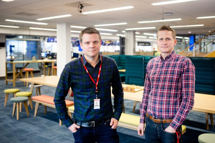 Nyhetsleder Lars Håkon Grønning og VG-kommentator Leif Welhaven inne i VGs lokaler i 6. etasje i Akersgata 55. Foto: Eskil Wie Furunes