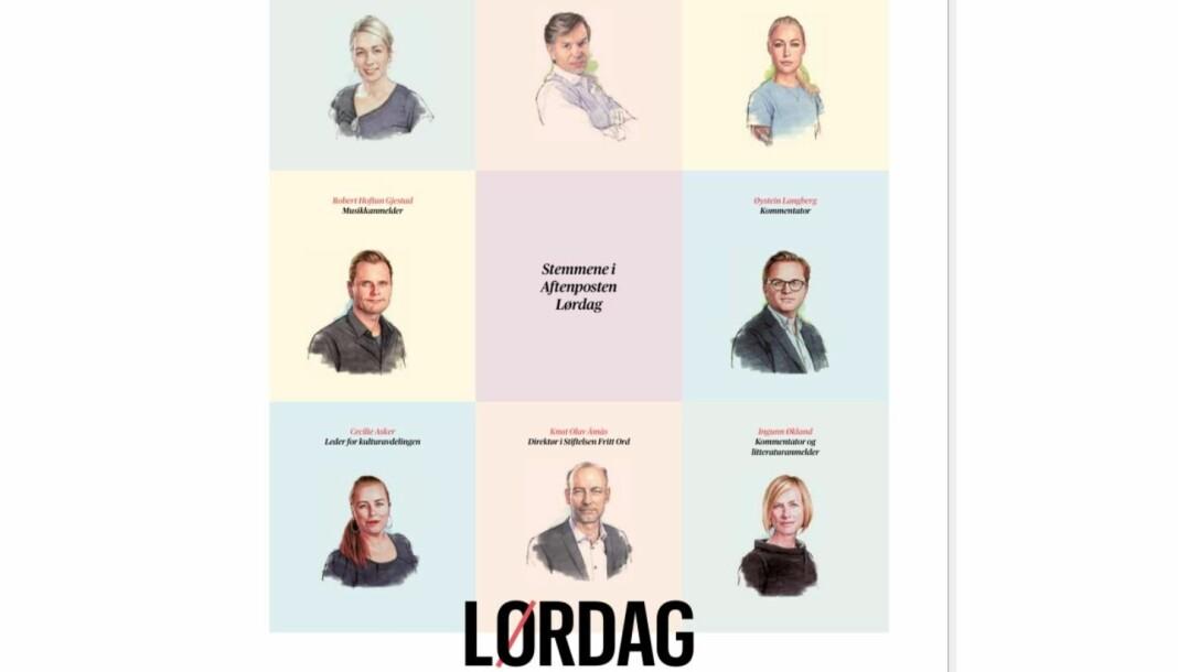 Aftenpostens nye lørdagsbilag, som ble rullet ut forrige helg, har skapt diskusjon på sosiale medier for sitt tilsynelatende lite mangfoldige utvalg stemmer. Foto: Faksimile Aftenposten