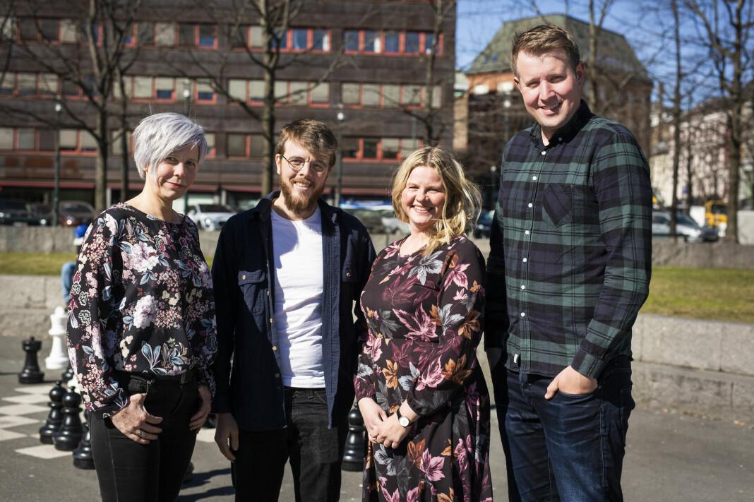 Marita E. Valvik, Kyrre Lien, Silje Bratland Roksvåg og Even Skårberg Aarnes er nyvalgte medlemmer i NJs landsstyre, for perioden 2019-2021. Foto: Kristine Lindebø